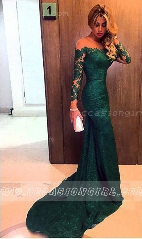 Gorgeous Off-the-shoulder Lace Mermaid Dark Green Long Sleeves Prom Dress ,Green prom dresses,lace prom dresses,prom dresses 2016,long sleeves prom dresses