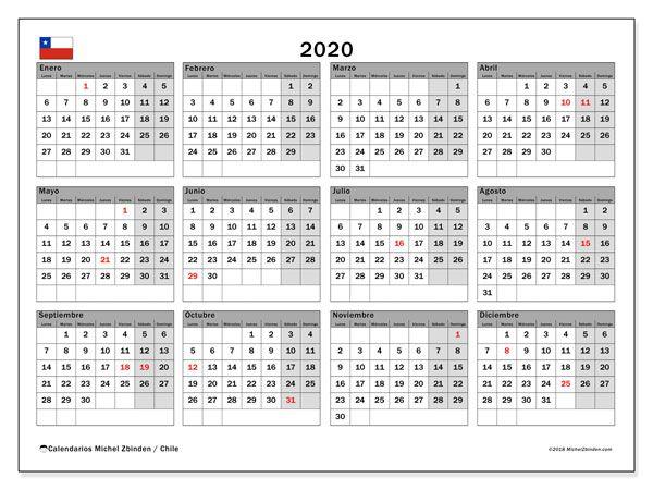 Calendario 2020 Gratis Con Foto.Calendario 2020 Chile Matrimonio Calendario Mensual