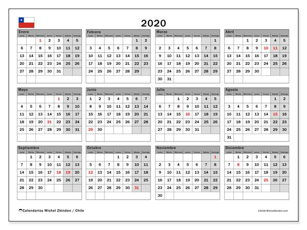 Calendario Chile 2020.Calendario 2020 Chile Matrimonio Calendario Mensual