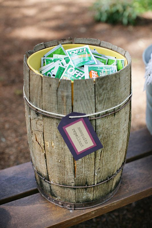 Brilliant to remember mosquito repellent at outdoor wedding: Bugs Sprays, Good Ideas, Wedding Ideas, Outdoor Parties, Bugs Repellent, Outdoor Events, Great Ideas, Mosquitoes, Outdoor Weddings