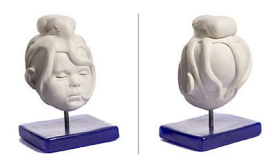 """ANDREW BARTON LONDON 1970  """"Early On, Porcelain III"""" 2016 Porselen på blå epoksy sokkel, H: 20 cm Signert, datert og tittulert under sokkelen: Andrew Barton 2016"""