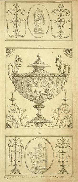 [Center design for urn; cherubs in horse-drawn cart.] (1777-1784) engravings prints, Michel Pergolesi