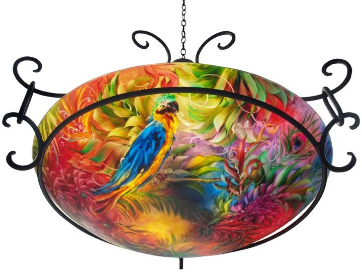 tropical chandeliers | Home / Blogs / Bahama Macaw, tropical reverse painted glass chandelier