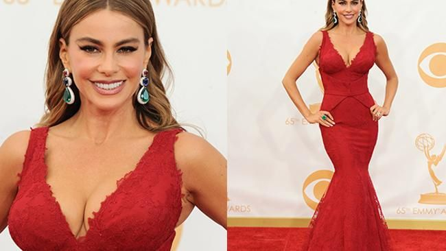 Sofia Vergara at the Emmys. Everything visible and invisible is natural and Colombian, including the emeralds.