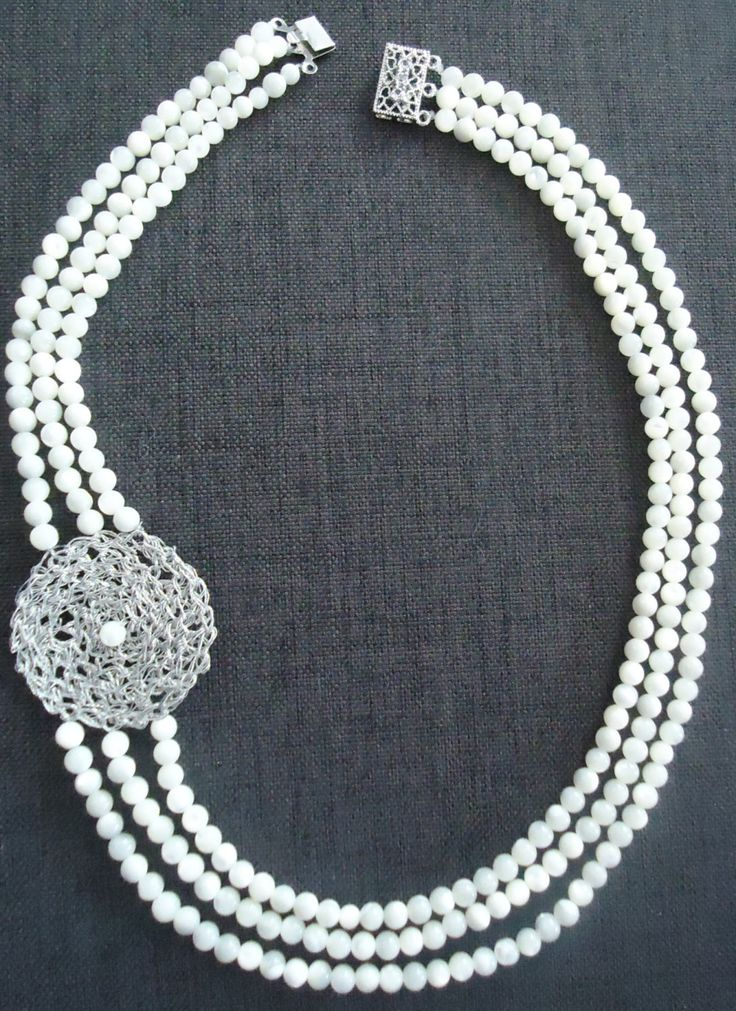Hand made necklace with Ohrid pearls and crochet knitted silver wire pendant by KnittedSilver on Etsy