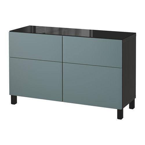 БЕСТО Комбинация для хранения с ящиками - черно-коричневый/Вальвикен серо-бирюзовый, направляющие ящика, плавно закр - IKEA