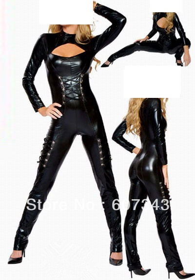 Free Shinpping HOT Black Sexy adult costume, Sexy Black Gothic PVC Vinyl Catsuit Cat Woman Jumpsuit Party Clubwear Costume on AliExpress.com. 5% off $25.64