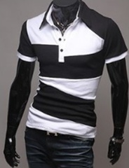 The New Men's Street Style Fashion Hit Color Design The Wild Short Sleeve POLO Shirt ,Short-sleeved Foreign Men