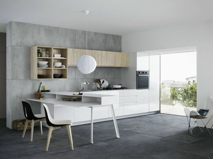 KITCHEN WITH PENINSULA WITHOUT HANDLES MILA 02 BY CESAR ARREDAMENTI | DESIGN GIAN VITTORIO PLAZZOGNA