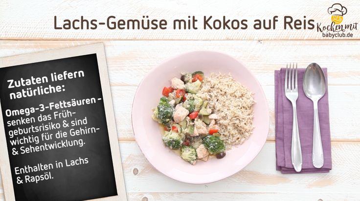 Rezepte für Schwangere: Lachs-Gemüse in Kokosmilch auf Reis