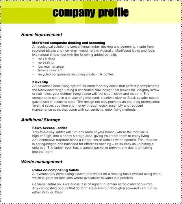 Company Profile Samples Word Excel Fomats Company Profile