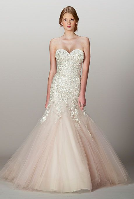 Brides.com: Fall 2013 Wedding Dress Trends. Trend: Blush Wedding Dresses. Gown by Liancarlo  See more Liancarlo wedding dresses in our gallery.