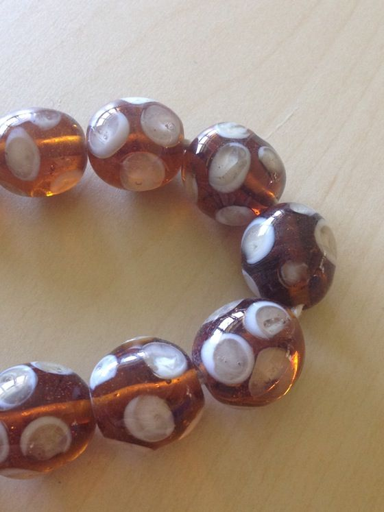 Amber Indonesian glass focal beads