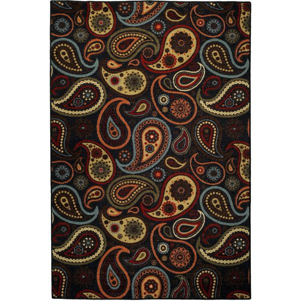 """Rubber Back Black Charcoal Paisley Floral Non-Skid Area Rug 3'3"""" x 5' ($33) ❤ liked on Polyvore featuring home, rugs, black, non skid area rugs, black floral area rugs, outdoor rubber mats, black floral rug and black area rug"""