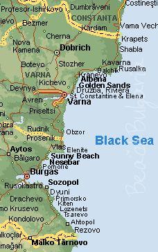 Map of Bulgaria Black Sea coast and resorts. Beach Holidays in Bulgaria.