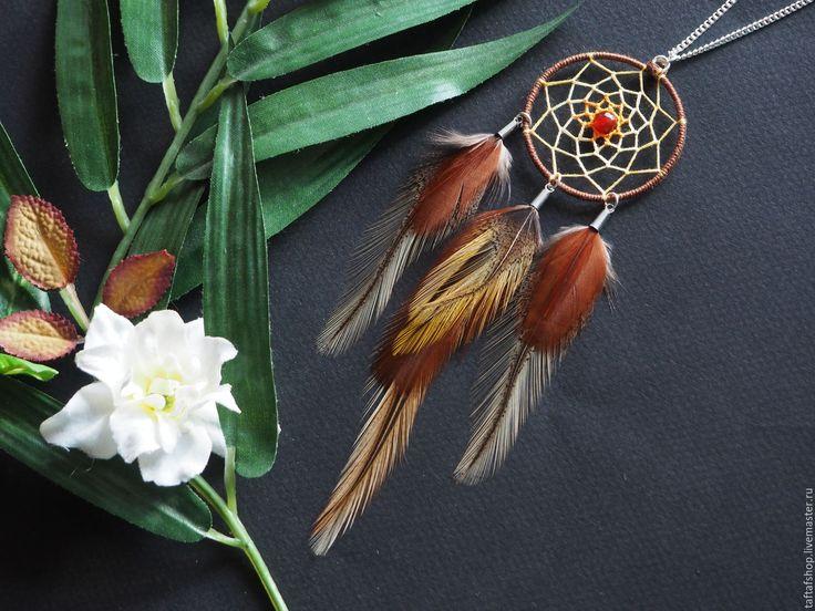 Кулон с перьями - Тотем индейцев, ловец снов, коричневый, бежевый - перья, перо, бохо