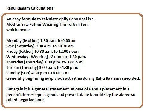 How to remember Rahu Kalam