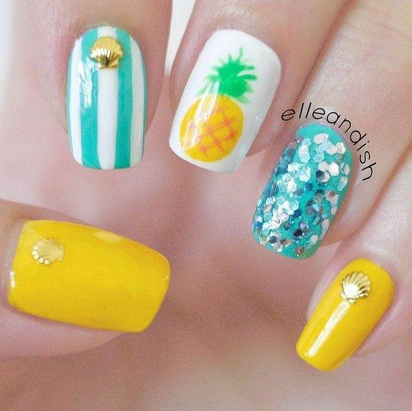 Pineapple Nail Art, beautiful nails - Uñas decoradas con motivo de piña