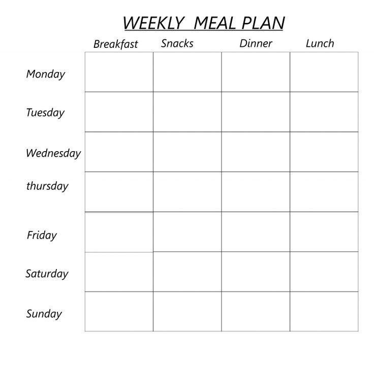 Free printable blank weekly meal planner pdf excel