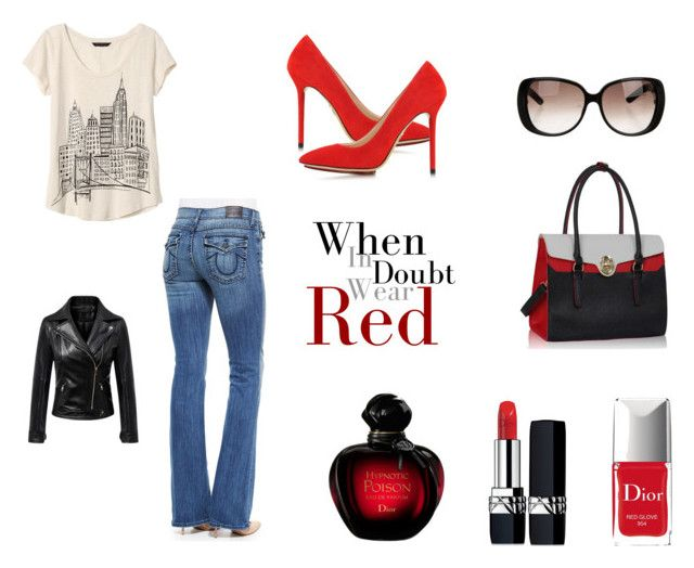 """""""When in Doubt...Wear Red"""" by lanebuleusedepersephoneia on Polyvore featuring mode, Charlotte Olympia, Christian Dior, True Religion, Banana Republic, Gucci, Chicnova Fashion, contest, Dior et Group"""