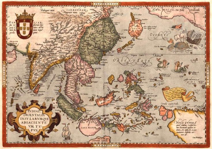 This 1570 map of Asia features e a curiously shaped Japan and a Pacific Ocean inhabited by mermaids and strange sea creatures.