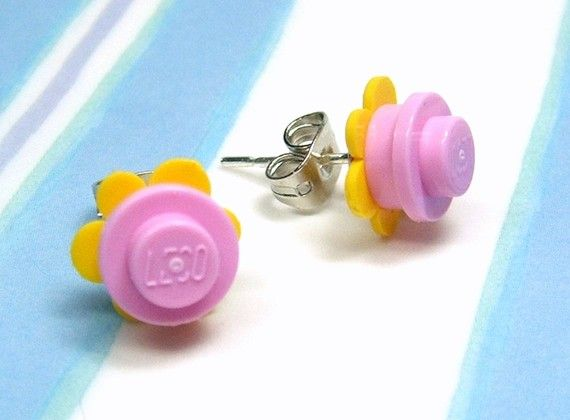 Crazy Daisy Stud Earrings made from LEGO r Pieces  by MoLGifts