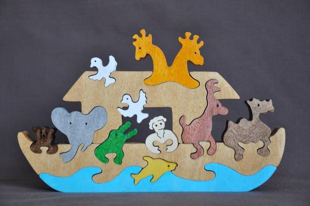 Noahs Ark Wood Puzzle Toy Hand Cut with Scroll Saw. $17.99, via Etsy.