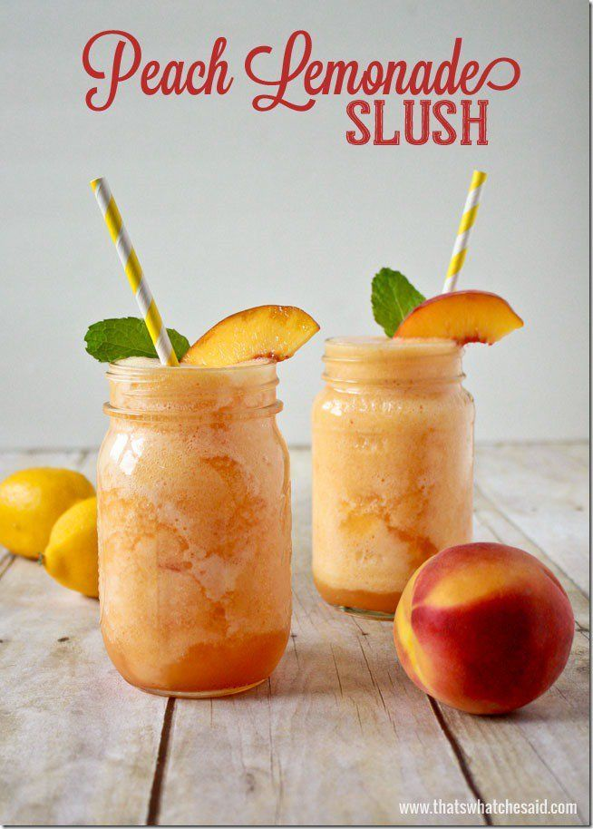 Peach lemonade slush Recips at thatswhatchesaid.com  Allergic to peaches yet I can't resist this shit.