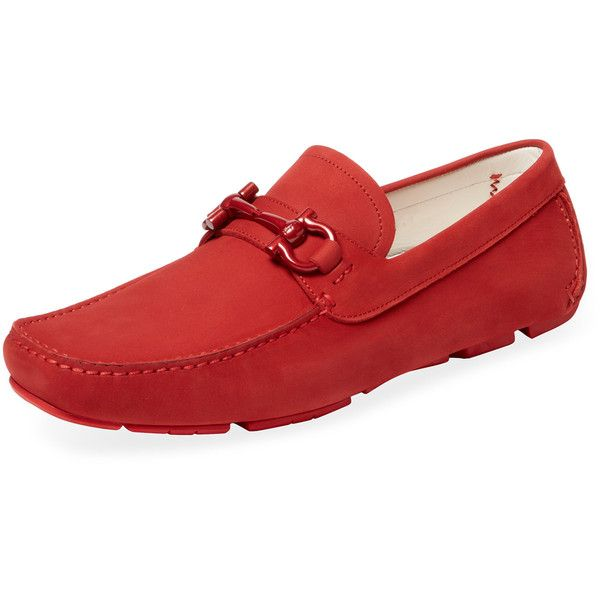 Salvatore Ferragamo Parigi NG Moc Toe Driver - Red, Size 5eee (1.105 BRL) ❤ liked on Polyvore featuring men's fashion, men's shoes, men's loafers, red, salvatore ferragamo mens shoes and mens red shoes