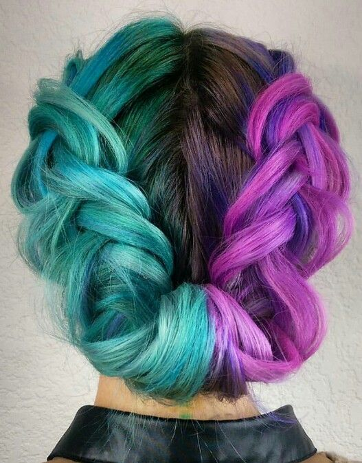 Green turquoise half purple dyed braided twist updo hair