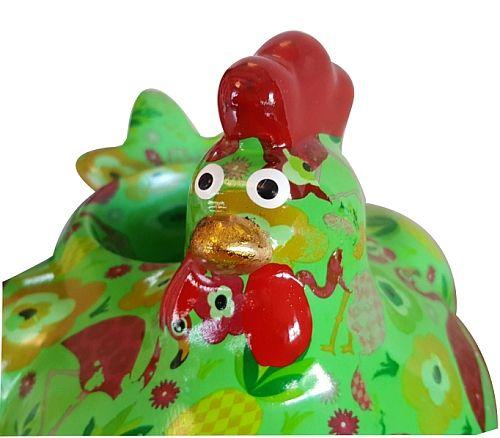 Petit cache pot en céramique décorée poulette au bec doré!