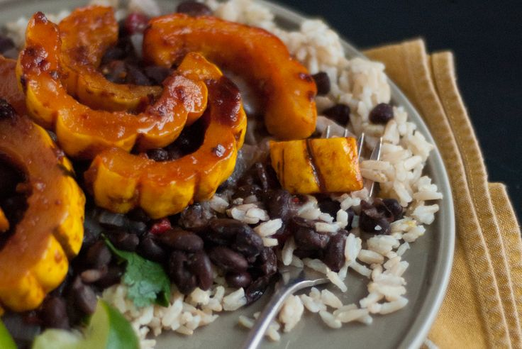Chipotle Glazed Squash with Cilantro Lime Rice and Refried Black Beans