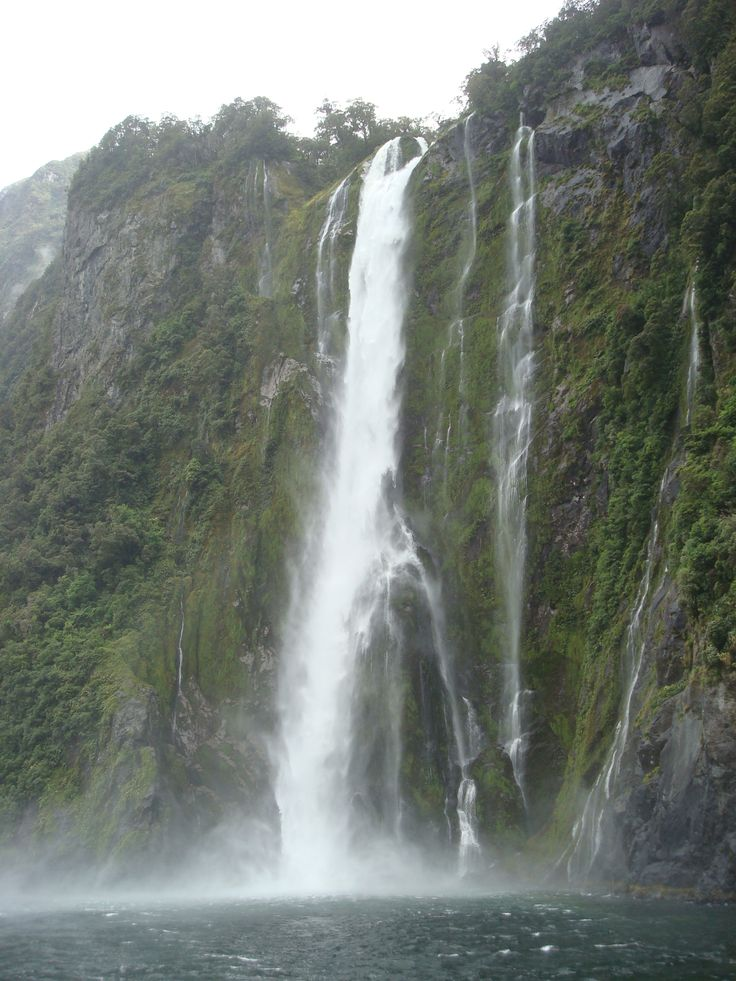 One of the meany water fall's milford sound, New Zealand By www.silberhorn.co.nz  #silberhorn #travel #nz #travelnz