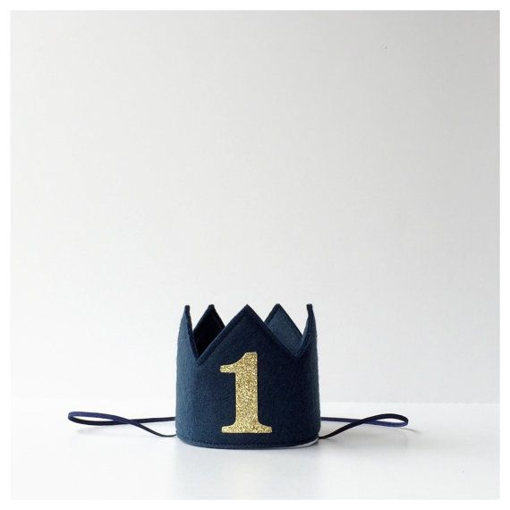 Navy Blue Wool Felt Mini Birthday Crown, Gold Glitter One, Number Age, Boy, Prince, Smash Cake Photo Prop, Baby, One Year Old, Twins