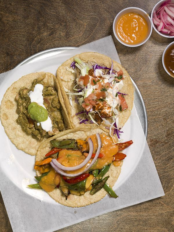 taco platter for the ages: pork, chicken, and fish tacos served with ...