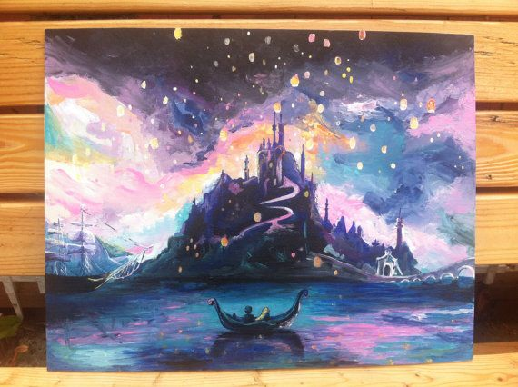 Tangled Etsy listing at https://www.etsy.com/listing/195468227/hand-painted-acrylic-painting-of-lantern