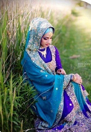 Hijab style Like the color combination of blue and purple
