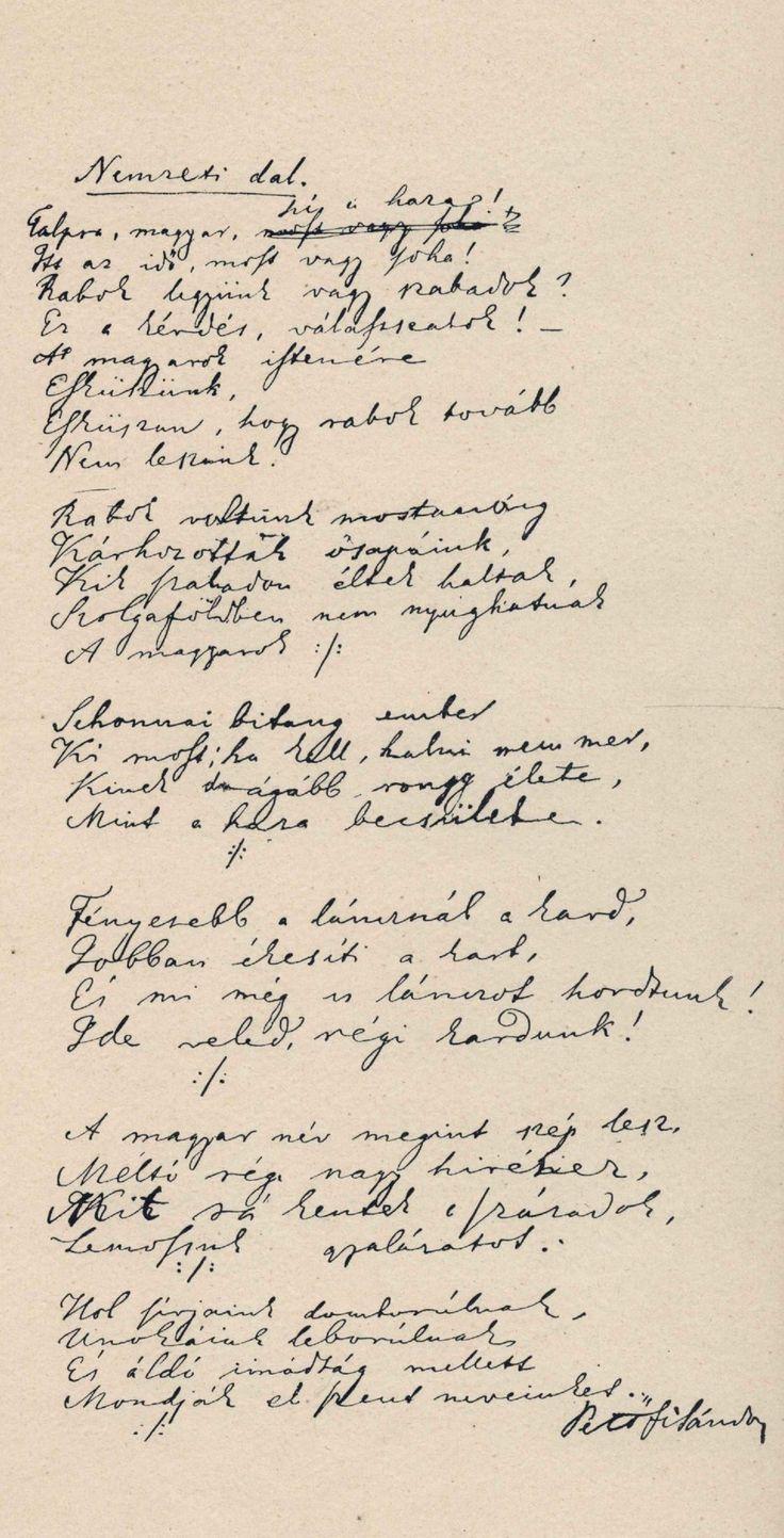 A Nemzeti dal első fogalmazványa