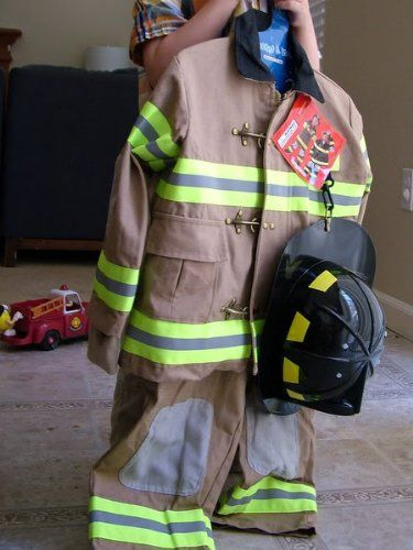 Best Quality, Amazingly Authentic-looking!!! Tan Firefighter Halloween Costume by Teetot & CO. Inc. Child Size Small 3-4, Medium 5-6 * Adorable! * (...Double Click On The Picture...)