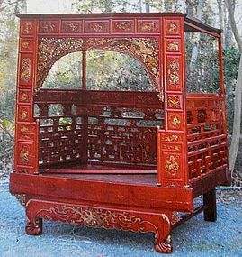 CHINESE WEDDING BEDS | Red and Gold Wooden Chinese Marriage Wedding Bed (item #1170060)