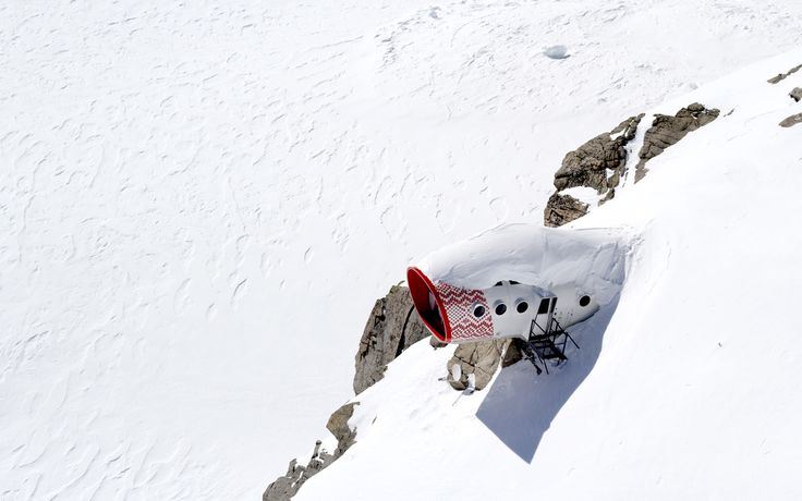 """Zero impact"" climber's cabin on Mt. Blanc, Italy.    Designed and photographed by LEAPfactory."
