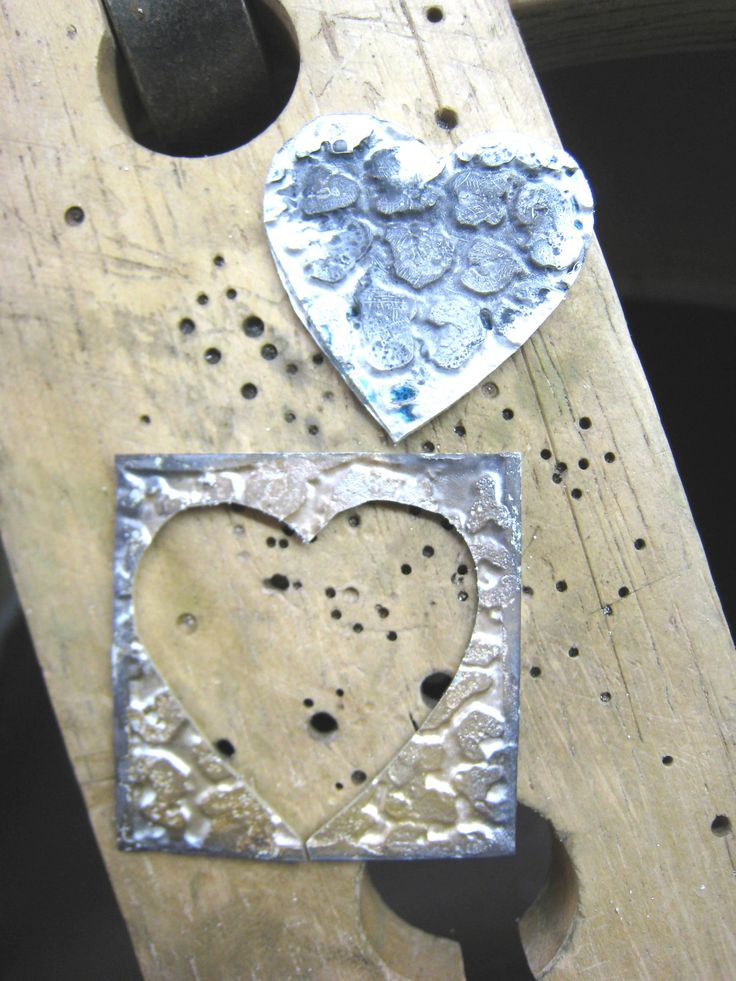 Sterling silver Etched leopard print heart pendant in the process of being made by ZaZing