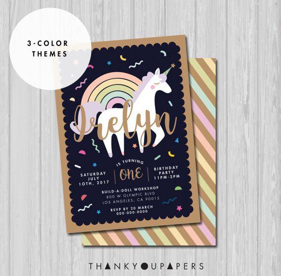 Unicornio invitación, invitación de cumpleaños de unicornio, unicornio partido invitación, unicornio arco iris confeti kawaii unicornio invitación DIGITAL archivo