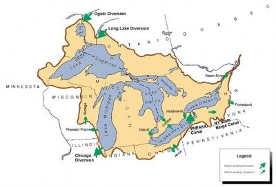 Many factors can influence water levels in the Great Lakes system  including manmade diversions as shown in this diagram.