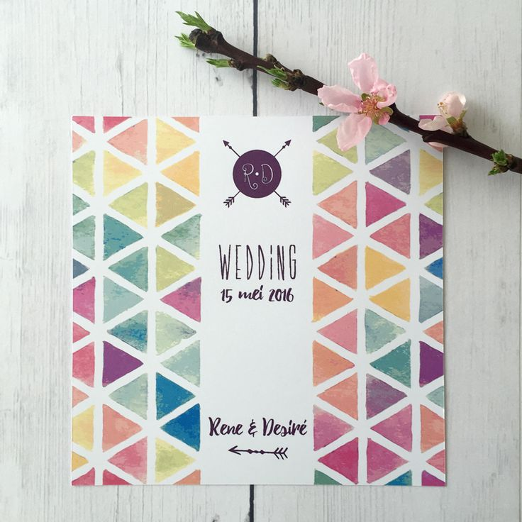 Trouwkaart • Wedding card • Bohemian wedding • studiosproet.com