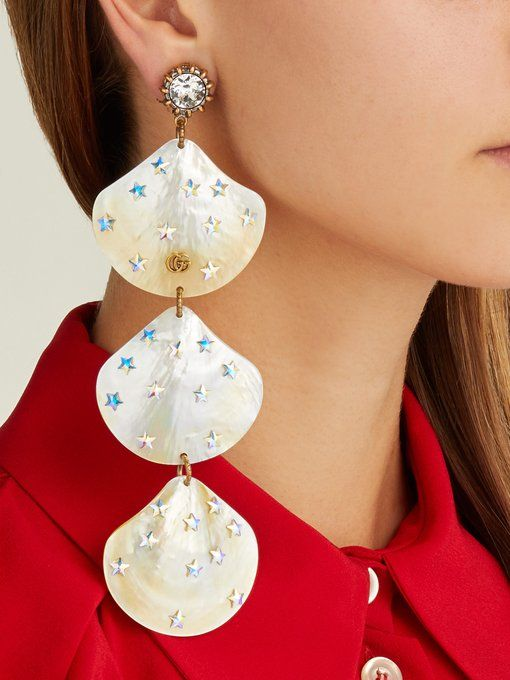 ac4d2ba0280 Gucci GG mother-of-pearl shell-drop earrings