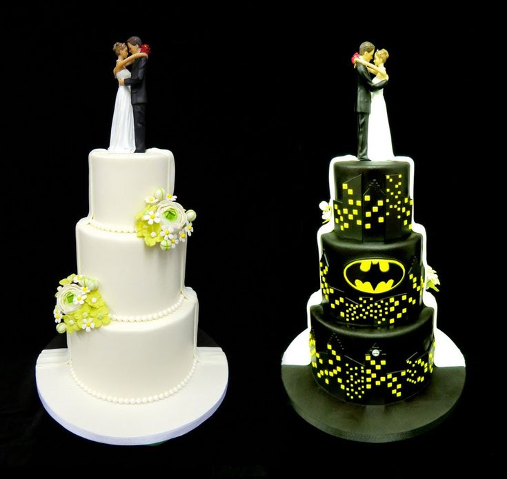 Traditional and Batman Wedding Cake