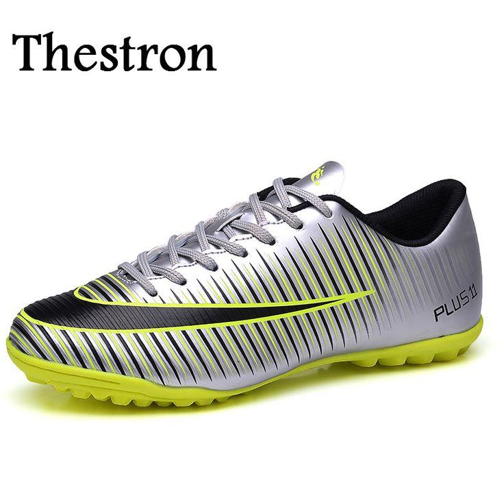 Elegant Thestron Soccer Shoes For Men Gray Green Soccer Training Shoes Anti Slip Kids Soccer