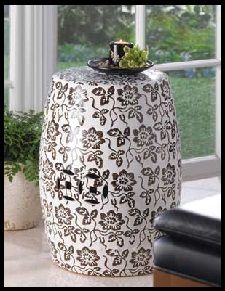 Decorative Black / White Floral Design Accent Stool - Living Room Decor -  This accent stool is a beautiful way to add some graphic drama to your home. It can be used as a stool, table or as a standalone decorative accent. Move it to the garden or patio for outdoor use! www.mysouthernhomeplace.com