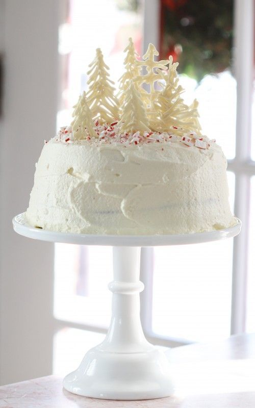 Pretty Peppermint Dream. I love the forest of easy white chocolate trees as the cake topper.